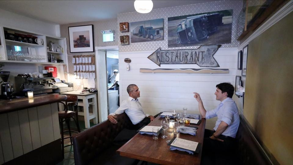 Former US President Barack Obama caught up with Canadian Prime Minister Justin Trudeau on Tuesday at Montreal's Liverpool House restaurant.