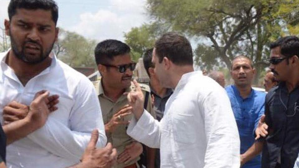 Congress vice-president Rahul Gandhi being detained by the police in Neemuch, Madhya Pradesh on Thursday.