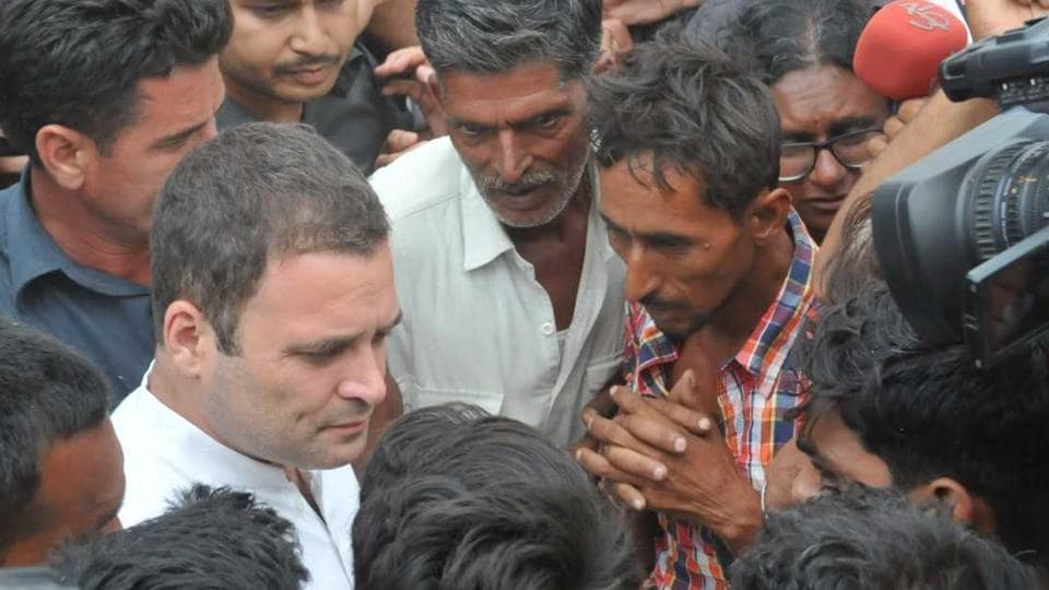 Congress vice president Rahul Gandhi meets family members of the farmers who were killed in alleged police firing in Mandsaur at the Madhya Pradesh-Rajasthan border town of Doria on Thursday.