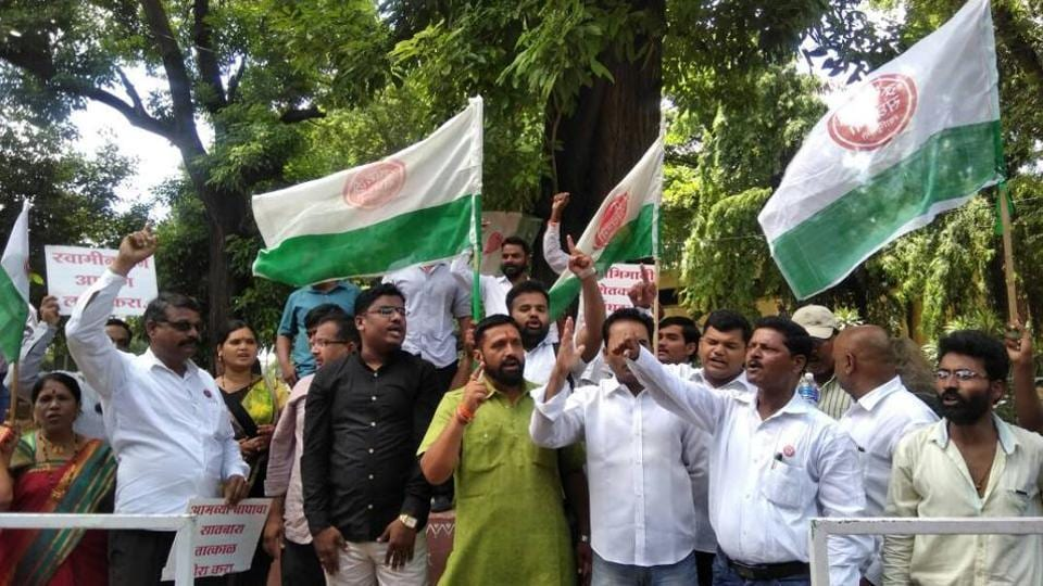 Farmers protesting in Pune on Monday.
