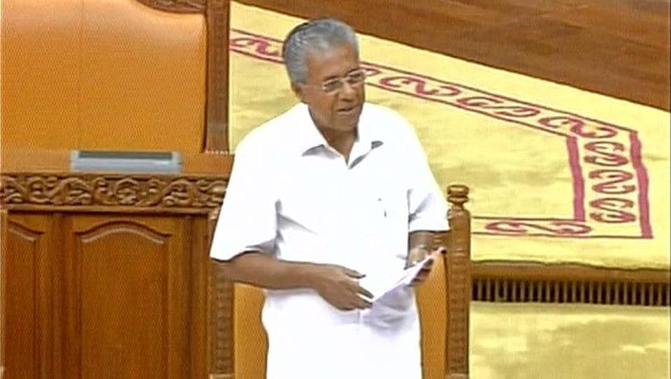 Kerala CM Pinarayi Vijayan speaks during the special assembly session on Thursday.