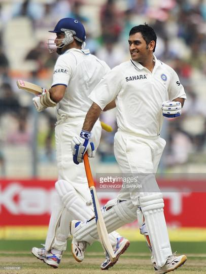 VVS Laxman and MSDhoni at Eden Gardens, Kolkata, during the test match against the West Indies on 15th November 2011.
