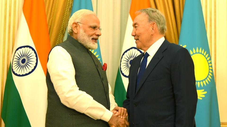 PM Modi,Kazakh President,Nursultan Nazarbayev