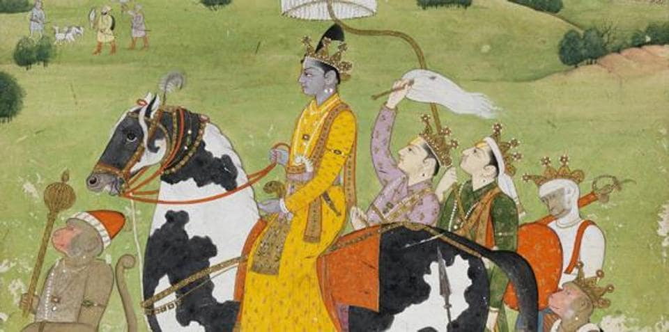 Rama Returns in Victory to Ayodhya, painted around 1780-1790 in the Kangra region.
