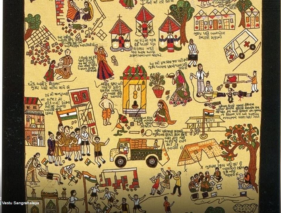 An example of textiles produced by various craftsmen in and around Bhuj, Gujarat, as an expression of the aftermath of the terrible earthquake in that region in 2002.