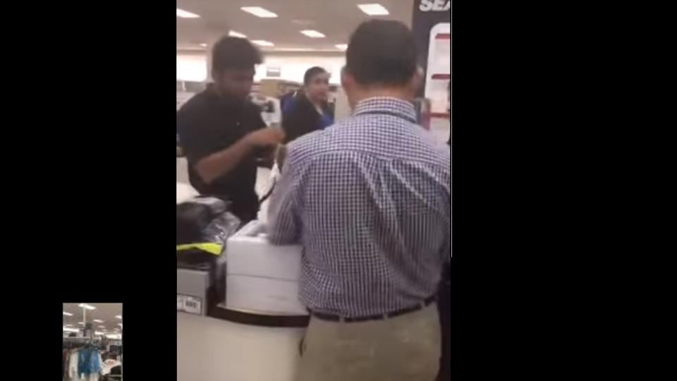 The incident took place at the Sears store in New Brunswick, New Jersey, and a city man videotaped the woman making bigoted comments.