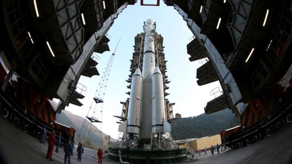 File photo of the Long March 3B rocket docked at the launch pad at Xichang Satellite Launch Center in Liangshan, Sichuan province of China, in December 2013.
