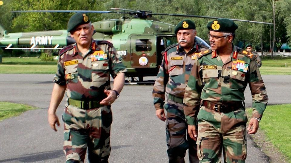 Indian Army chief General Bipin Rawat (left) says Pakistan is using social media to spread unrest in the Kashmir Valley.