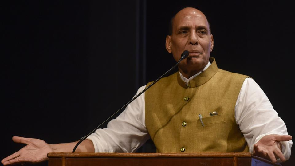Union home minister Rajnath Singh during a BJP function in Mumbai on Thursday.