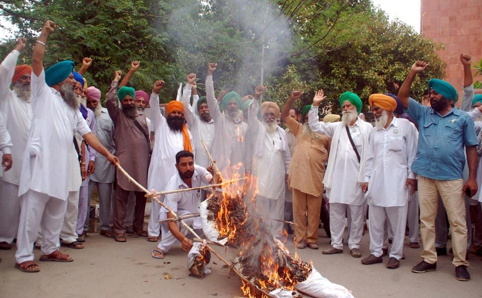 Farmers protesting in Bathinda on Thursday against the killing of five farmers in police firing in Madhya Pradesh.