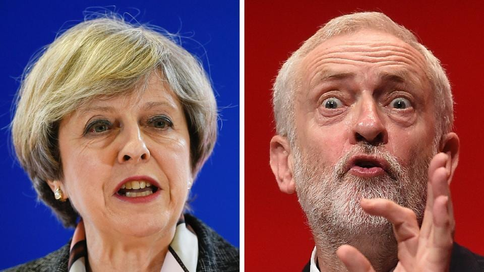 A combination of pictures shows British Prime Minister and Conservative Party leader Theresa May (L) speaking at a press conference during a European Summit at the EU headquarters in Brussels on March 9, 2017 and Britain's main opposition Labour Party leader Jeremy Corbyn (R) speaking on the fourth day of the annual Labour Party conference in Liverpool, north west England on September 28, 2016.