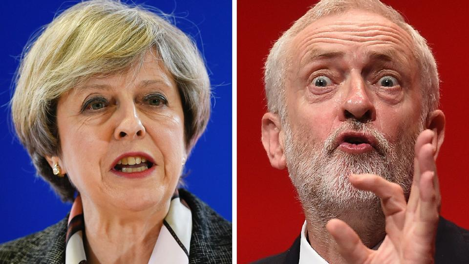 British PM and Conservative Party leader Theresa May is pitted against Jeremy Corbyn of Britain's main opposition Labour Party.