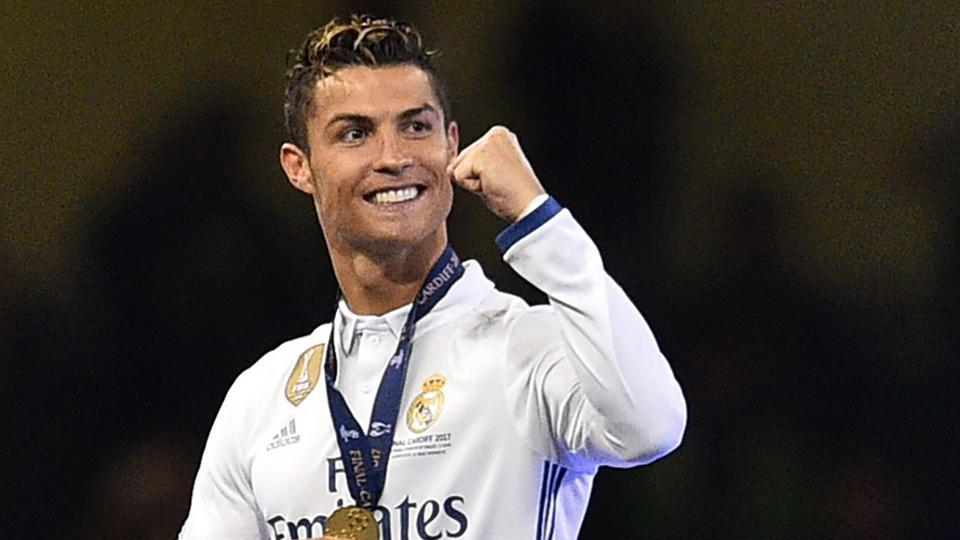 Real Madrid's Cristiano Ronaldo celebrates after Real Madrid won the UEFA Champions League final.