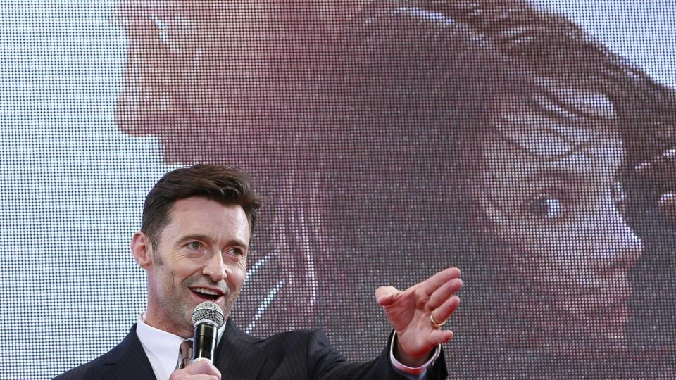 Actor Hugh Jackman speaks during the Japan premiere of his film Logan in Tokyo.