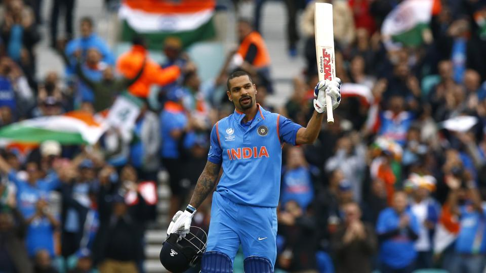 India's Shikhar Dhawan celebrates reaching his century against Sri Lanka in Thursday's ICC Champions Trophy 2017 match at The Oval.