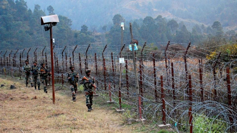 Soldiers stand guard near the Line of Control (LoC) in Jammu and Kashmir.