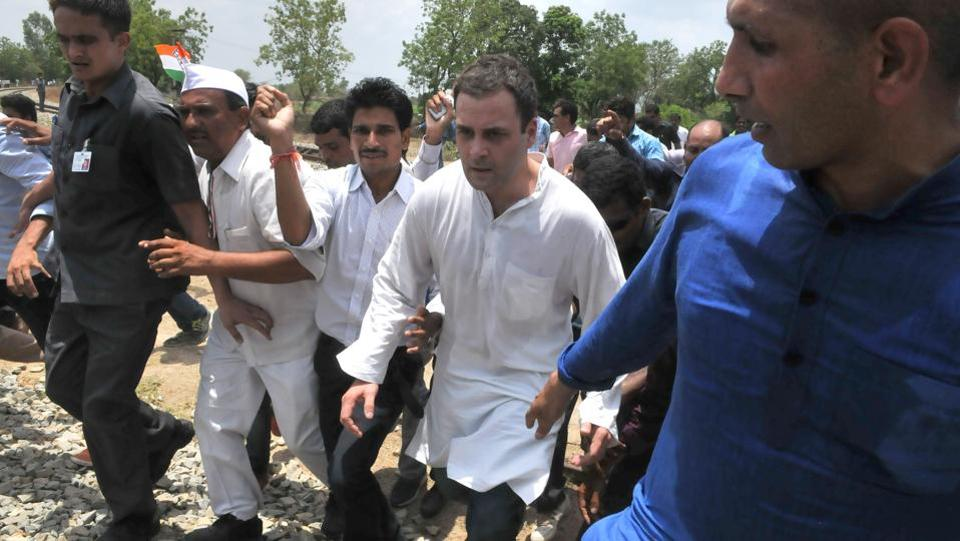 Congress vice-president Rahul Gandhi arrested after attempting to jump a barrier. (Mujeeb Faruqui  / HT Photo)