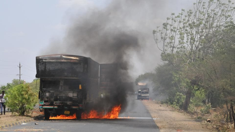 Farmers torch trucks in  Mandsaur district during protests.
