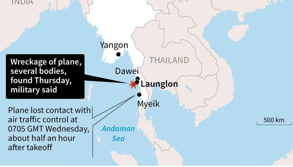 Map of Myanmar locating the area where the military on Thursday found the wreckage of a plane that went missing with more than 120 people on board.