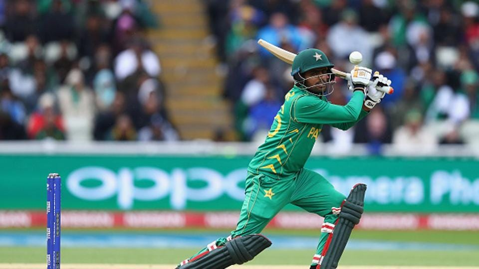 Pakistan were 119 for three off 27 overs, well ahead of a target of 101 on DLS, when rain stopped play. Babar Azam was 31 not out and Shoaib Malik unbeaten on 16. (Getty Images)