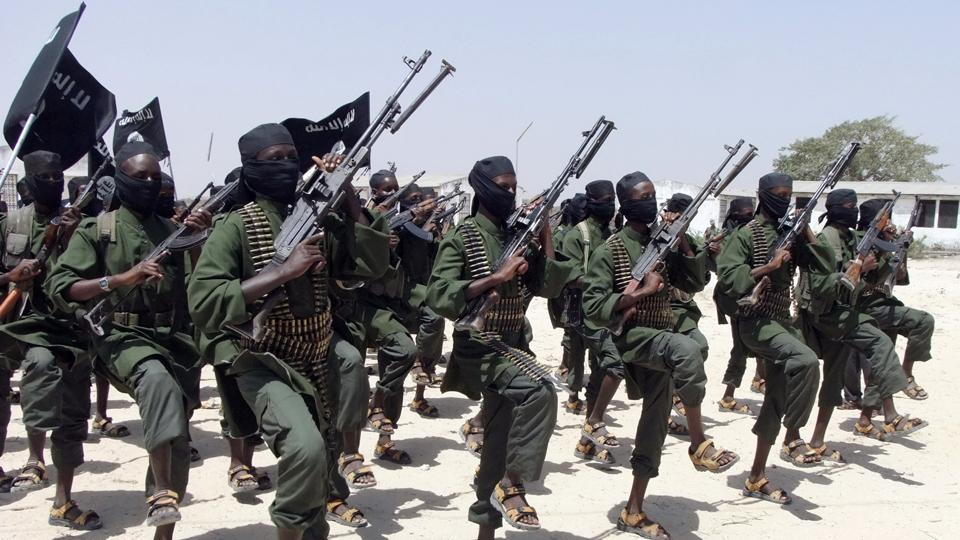 File photo of hundreds of newly trained al-Shabab fighters performing military exercises in Lafofe area,18 km south of Mogadishu, Somalia, in 2011.