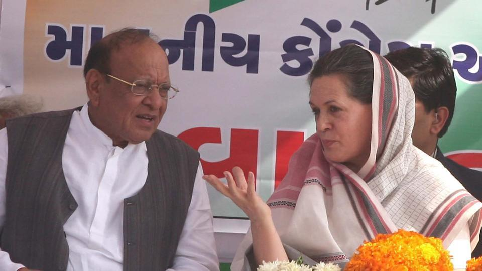 Congress president Sonia Gandhi with party leader Shankarsinh Vaghela during an event in Sabarkantha.
