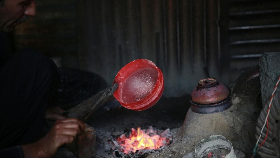These copper utensils have been, throughout history, extensively used in Kashmiri households. But in the recent past, observers say, the usage has seen some decline. (Waseem Andrabi/HT Photo)