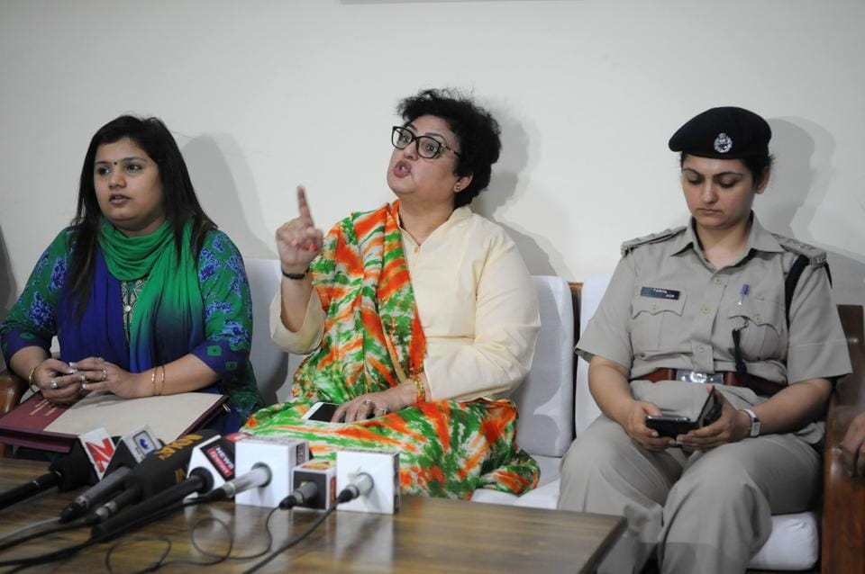 Rekha Sharma, member, National Commission for Women (NCW), addresses a press conference in Gurgaon on Thursday.