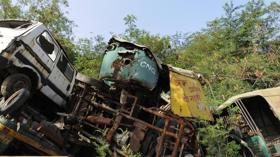 Impounded vehicles dumped at Sector 54 police station in Noida.