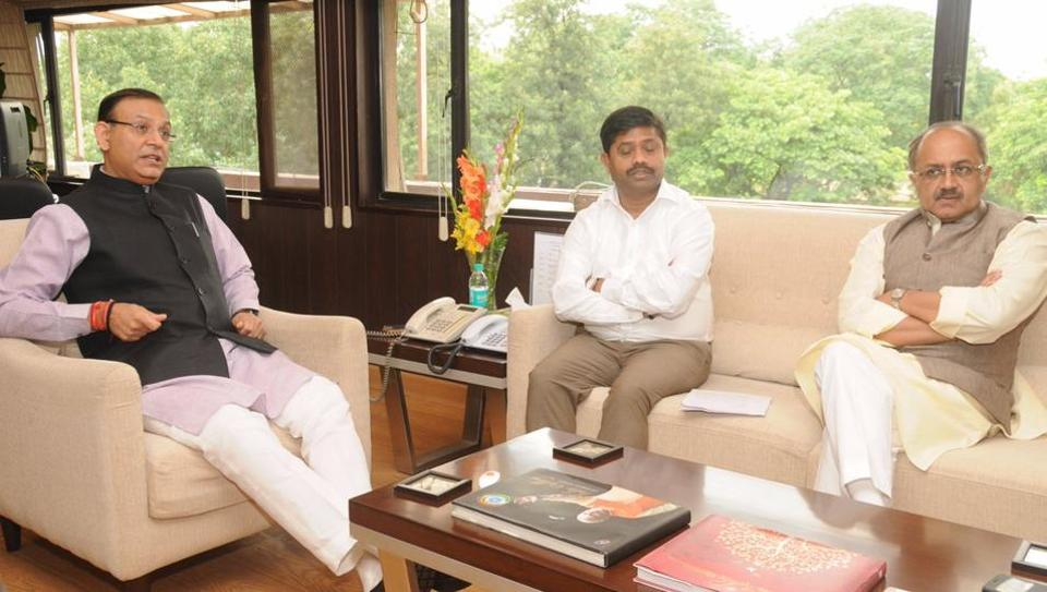 UP ministers Sidharth Nath Singh (right) and Nand Gopal Gupta during their meeting with Union minister of state for civil aviation Jayant Sinha in New Delhi.