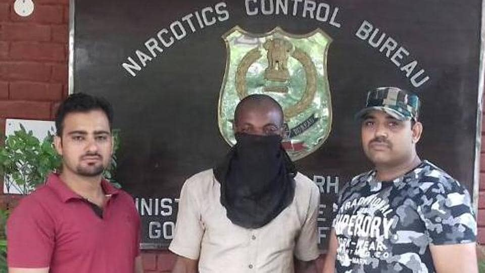 The accused in custody of the Narcotics Control Bureau in Chandigarh on Thursday.