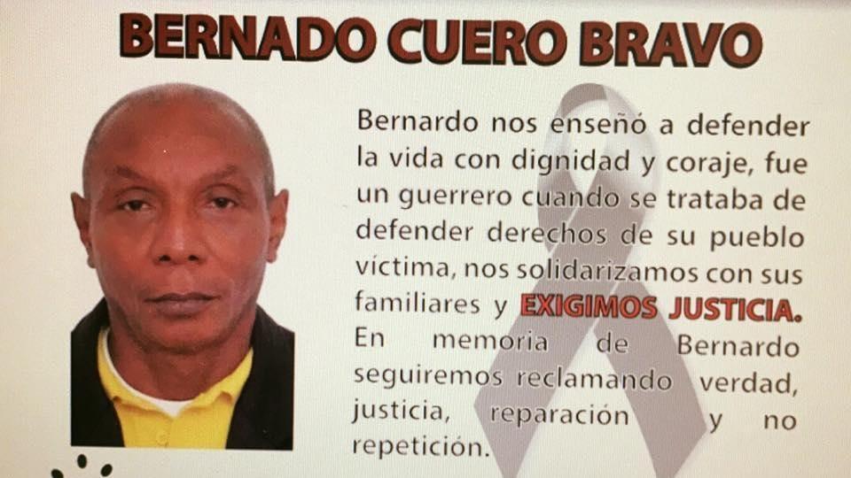 Bernardo Cuero was shot dead by gunmen in northern Colombia.