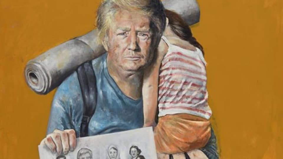 The artist says his aim is to picture world leaders outside their positions of power.