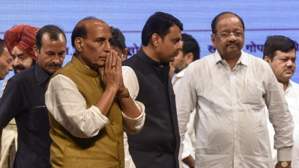 Union home minister Rajnath Singh and Chief Minister Devendra Fadnavis during BJP function for completing three years in government at Shanmukhananda Hall ,Sion in Mumbai, India, on Thursday, June 8, 2017.