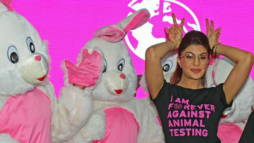 Bollywood actor Jacqueline Fernandez participates in a campaign, called Forever Against Animal Testing,  at Lower Parel in Mumbai. (Satyabrata Tripathy/HT )