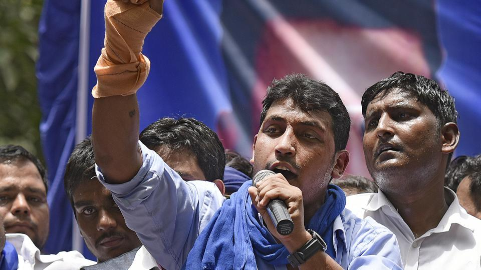 Bheem Army founder Chandrashekhar addresses a protest rally at Jantar Mantar in New Delhi on May 21. He was arrested from Dalhousie, Himachal Pradesh, on Thursday.