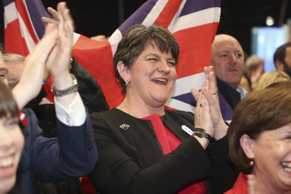 DUP leader Arlene Foster in East Belfast during the counting of votes.