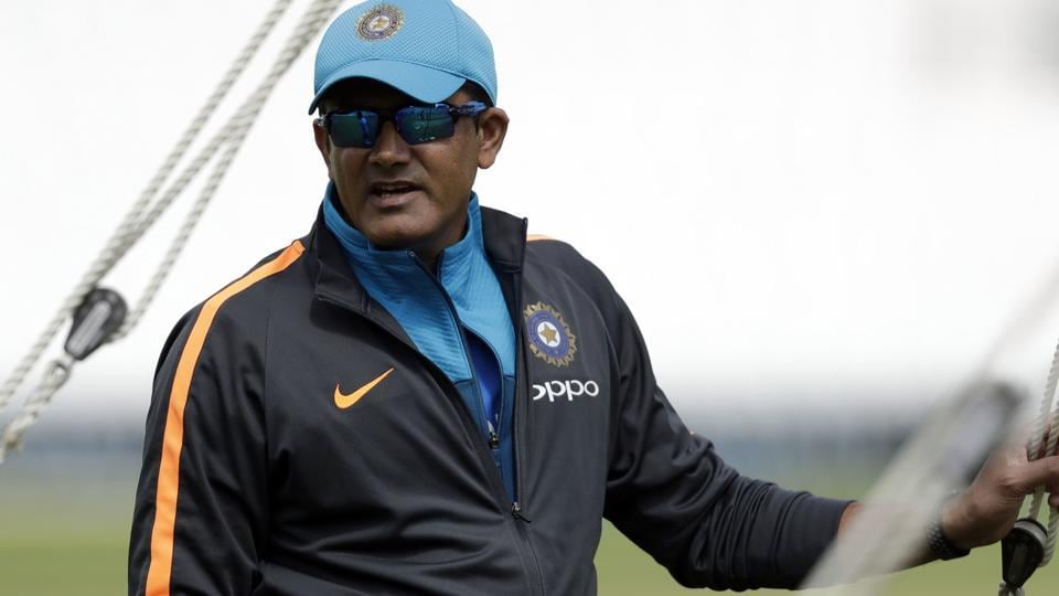 India's head coach Anil Kumble attends a training session at the Oval cricket ground in London.