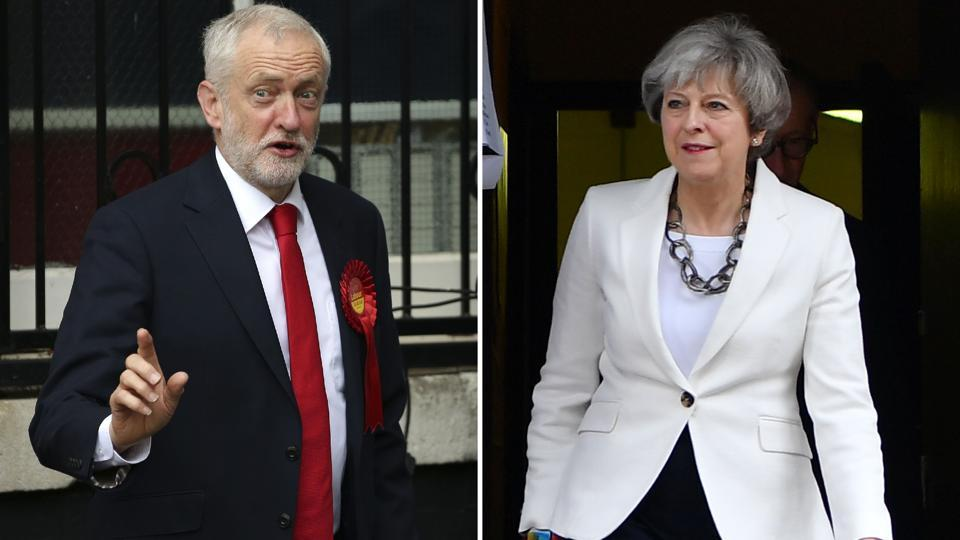 Labour party leader Jeremy Corbyn (left) voting in north London and British Prime Minister Theresa May voting in Maidenhead.