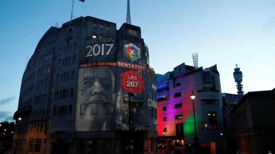 BBC Television centre is illuminated with the results for Britain's 2017 general election in London. (Eddie Keogh/Reuters)