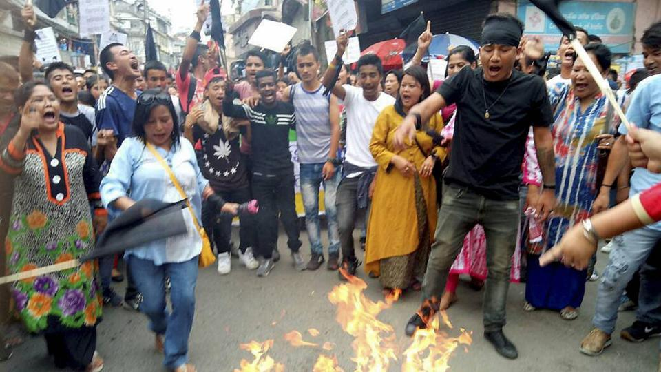 The protests begun in the early morning near the venue of the cabinet meeting in Darjeeling and took a violent shape after protesters were forced out of the area.  (PTI)