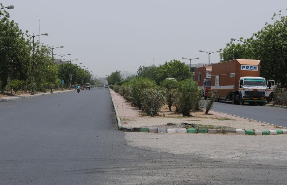 The road in Manesar's industrial area which the accused took as they drove the 19-year-old to a vacant plot where they took turns to rape her.