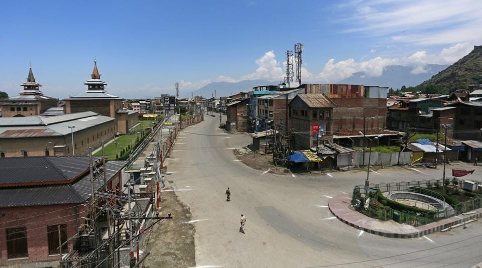 Deserted streets during a curfew in Srinagar on Friday as separatist leaders called for a shutdown against the killing of a civilian in Shopian district.