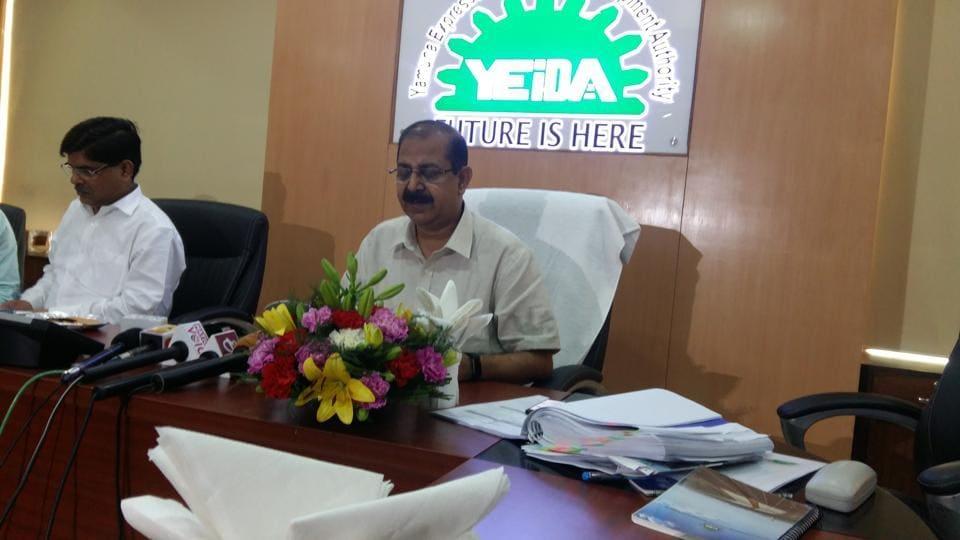 CEO of Yamuna Expressway authorityArun Vir Singh during the board meeting on Friday.