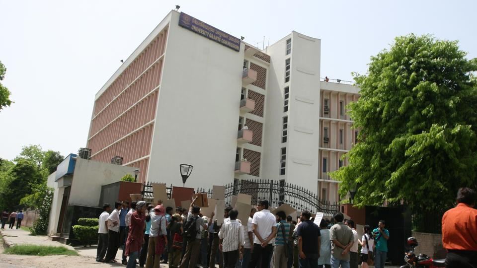 Students protest outside the University Grants Commission office in New Delhi.  In February this year, the University Grants Commission (UGC) instructed vice-chancellors of all central universities to prepare a time-bound plan for advertisement of posts, scrutiny of applications, selection and appointment of candidates for teaching positions but precious little seems to have changed.
