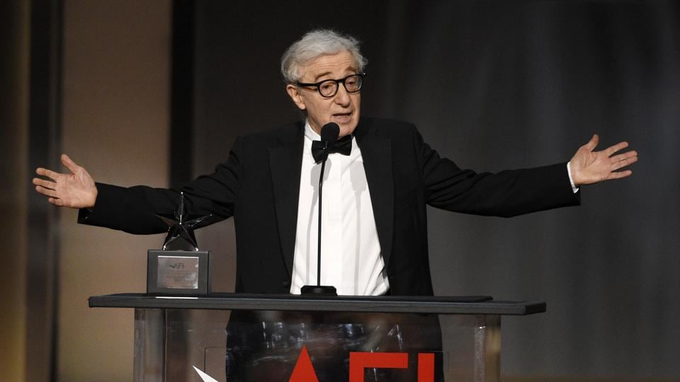 Filmmaker Woody Allen addresses the audience during the 45th AFI Life Achievement Award Tribute to Diane Keaton at the Dolby Theatre.