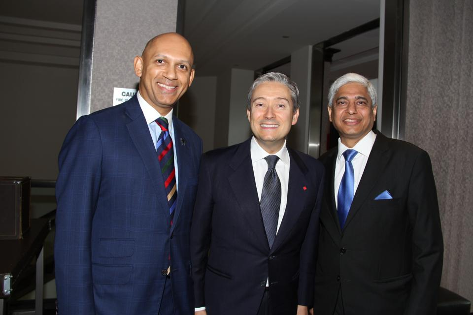 Canada's minister of international trade François-Philippe Champagne (center) with Canadian high commissioner to New Delhi Nadir Patel (left) and Indian high commissioner to Ottawa Vikas Swarup at the Canada India Business Symposium.