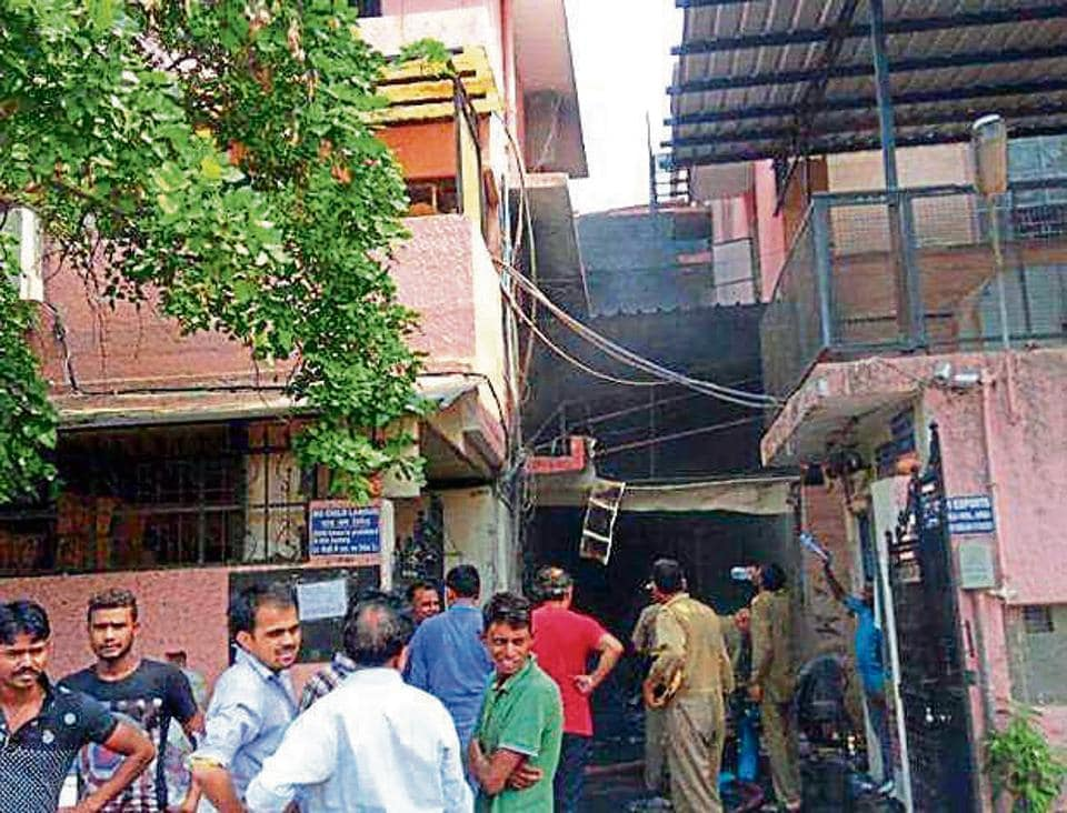 The factory that caught fire in Delhi's Okhla.