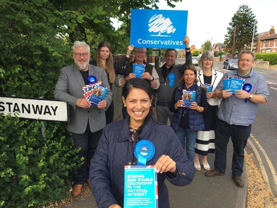 Conservative Party candidate Priti Patel received 31,670 votes in Thursday's election, up from 27,123 in 2015.