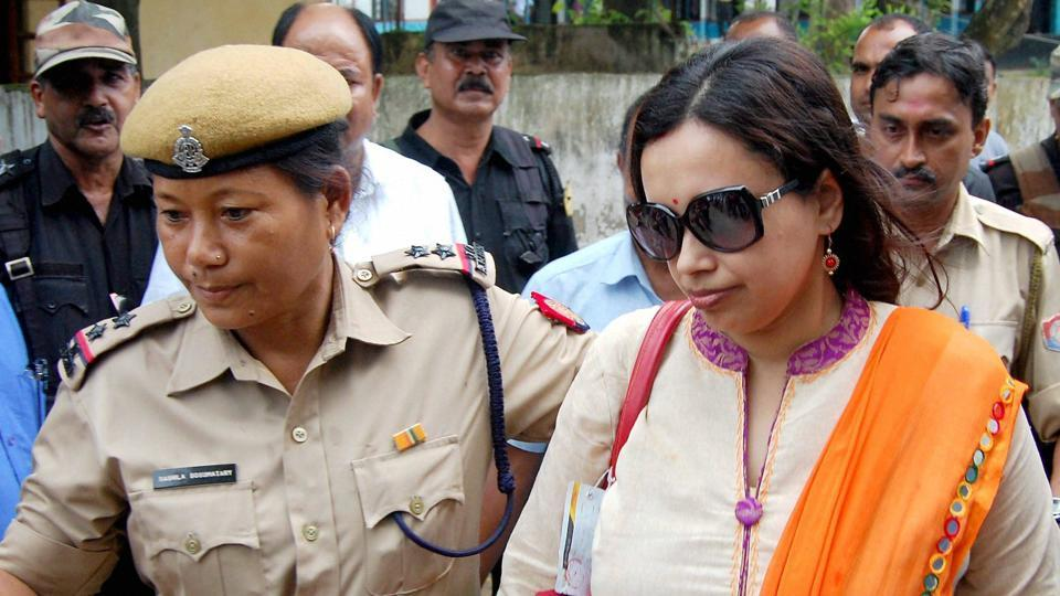 One of the ACS officers coming out after being grilled by police in Guwahati on Friday.
